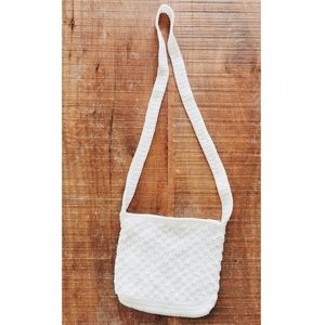 Vintage White Macrame Shoulder Bag